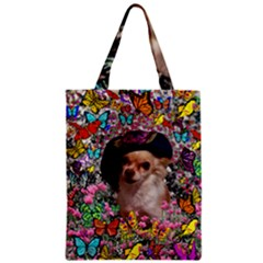 Chi Chi In Butterflies, Chihuahua Dog In Cute Hat Classic Tote Bag by DianeClancy