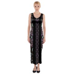 Oriental Floral Stripes Fitted Maxi Dress