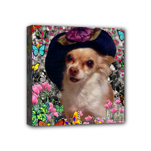 Chi Chi In Butterflies, Chihuahua Dog In Cute Hat Mini Canvas 4  X 4  by DianeClancy