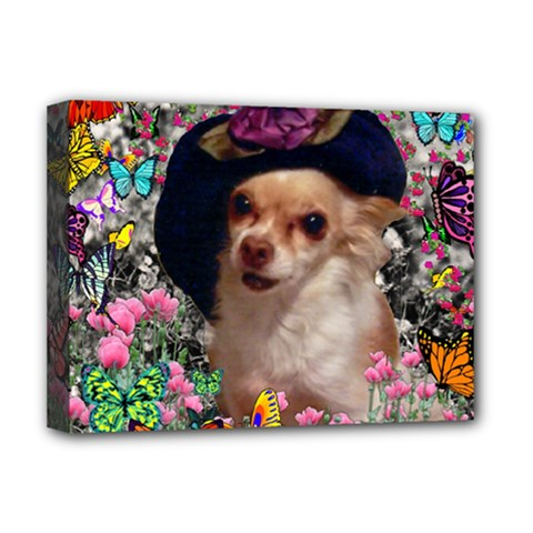 Chi Chi In Butterflies, Chihuahua Dog In Cute Hat Deluxe Canvas 16  X 12   by DianeClancy