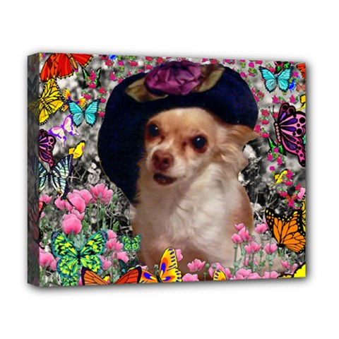 Chi Chi In Butterflies, Chihuahua Dog In Cute Hat Deluxe Canvas 20  X 16   by DianeClancy