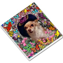 Chi Chi In Butterflies, Chihuahua Dog In Cute Hat Small Memo Pads by DianeClancy