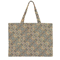 Cobblestone Geometric Texture Zipper Large Tote Bag