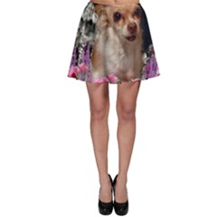 Chi Chi In Flowers, Chihuahua Puppy In Cute Hat Skater Skirt by DianeClancy