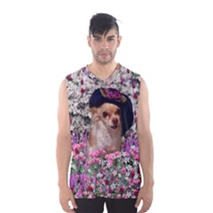 Chi Chi In Flowers, Chihuahua Puppy In Cute Hat Men s Basketball Tank Top by DianeClancy