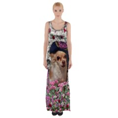 Chi Chi In Flowers, Chihuahua Puppy In Cute Hat Maxi Thigh Split Dress by DianeClancy