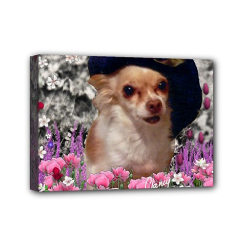 Chi Chi In Flowers, Chihuahua Puppy In Cute Hat Mini Canvas 7  X 5  by DianeClancy