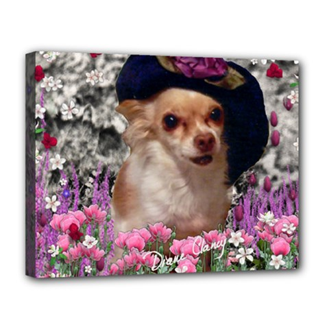 Chi Chi In Flowers, Chihuahua Puppy In Cute Hat Canvas 14  X 11  by DianeClancy