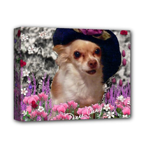 Chi Chi In Flowers, Chihuahua Puppy In Cute Hat Deluxe Canvas 14  X 11  by DianeClancy