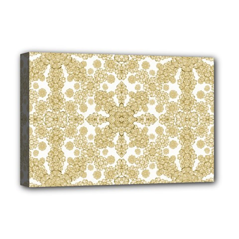 Golden Floral Boho Chic Deluxe Canvas 18  X 12   by dflcprints