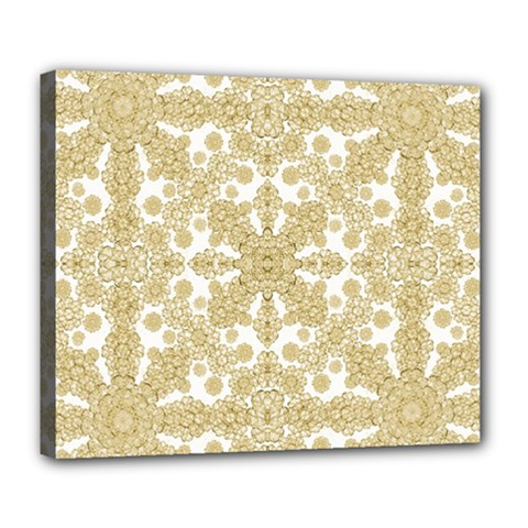 Golden Floral Boho Chic Deluxe Canvas 24  X 20   by dflcprints