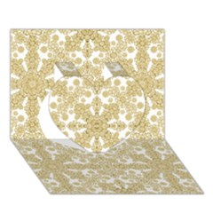 Golden Floral Boho Chic Heart 3d Greeting Card (7x5)  by dflcprints