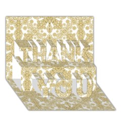 Golden Floral Boho Chic Thank You 3d Greeting Card (7x5)  by dflcprints