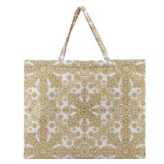 Golden Floral Boho Chic Zipper Large Tote Bag by dflcprints