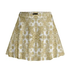 Golden Floral Boho Chic Mini Flare Skirt by dflcprintsclothing