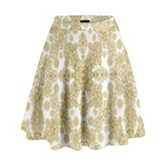 Golden Floral Boho Chic High Waist Skirt by dflcprintsclothing