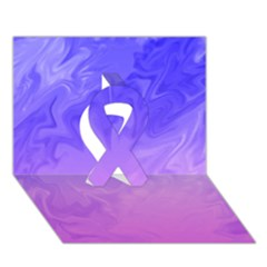 Ombre Purple Pink Ribbon 3d Greeting Card (7x5)  by BrightVibesDesign