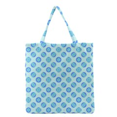 Pastel Turquoise Blue Retro Circles Grocery Tote Bag by BrightVibesDesign