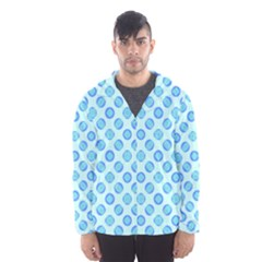 Pastel Turquoise Blue Retro Circles Hooded Wind Breaker (men) by BrightVibesDesign