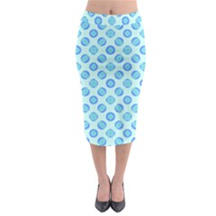 Pastel Turquoise Blue Retro Circles Midi Pencil Skirt by BrightVibesDesign