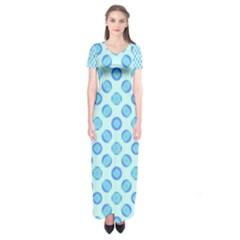 Pastel Turquoise Blue Retro Circles Short Sleeve Maxi Dress by BrightVibesDesign