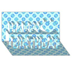 Pastel Turquoise Blue Retro Circles Happy Birthday 3d Greeting Card (8x4)