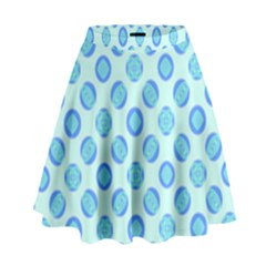 Pastel Turquoise Blue Retro Circles High Waist Skirt by BrightVibesDesign