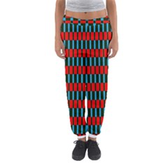 Black Red Rectangles Pattern                                                          Women s Jogger Sweatpants by LalyLauraFLM
