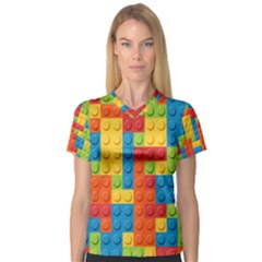 Lego Bricks Pattern Women s V-Neck Sport Mesh Tee by Salmanaz