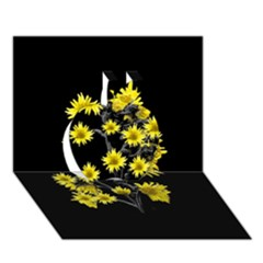 Sunflowers Over Black Apple 3d Greeting Card (7x5)  by dflcprints