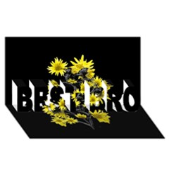 Sunflowers Over Black BEST BRO 3D Greeting Card (8x4)  by dflcprints