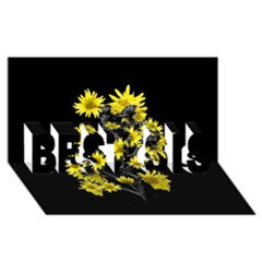 Sunflowers Over Black Best Sis 3d Greeting Card (8x4)