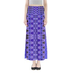 Blue Black Geometric Pattern Maxi Skirts