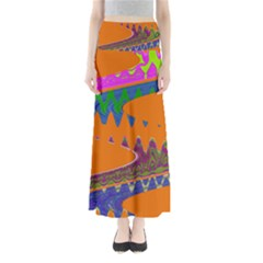 Colorful Wave Orange Abstract Maxi Skirts by BrightVibesDesign