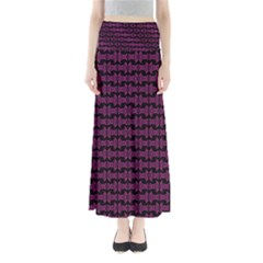 Pink Black Retro Tiki Pattern Maxi Skirts