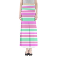 Pink Green Stripes Maxi Skirts