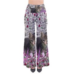 Emma In Flowers I, Little Gray Tabby Kitty Cat Women s Chic Palazzo Pants by DianeClancy