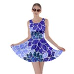 Azurite Blue Flowers Skater Dress