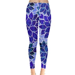 Azurite Blue Flowers Leggings  by KirstenStar