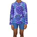 Azurite Blue Flowers Kid s Long Sleeve Swimwear