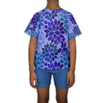 Azurite Blue Flowers Kid s Short Sleeve Swimwear