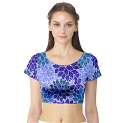 Azurite Blue Flowers Short Sleeve Crop Top (Tight Fit)