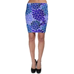 Azurite Blue Flowers Bodycon Skirt by KirstenStar