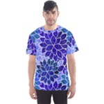 Azurite Blue Flowers Men s Sport Mesh Tee