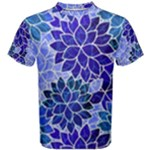 Azurite Blue Flowers Men s Cotton Tee