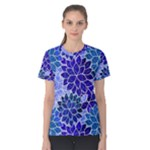 Azurite Blue Flowers Women s Cotton Tee