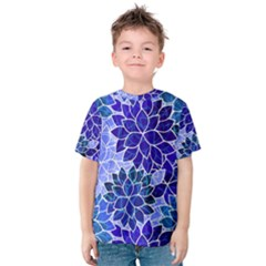 Azurite Blue Flowers Kid s Cotton Tee by KirstenStar