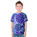 Azurite Blue Flowers Kid s Cotton Tee