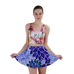 Azurite Blue Flowers Mini Skirt by KirstenStar