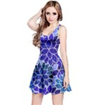Azurite Blue Flowers Reversible Sleeveless Dress